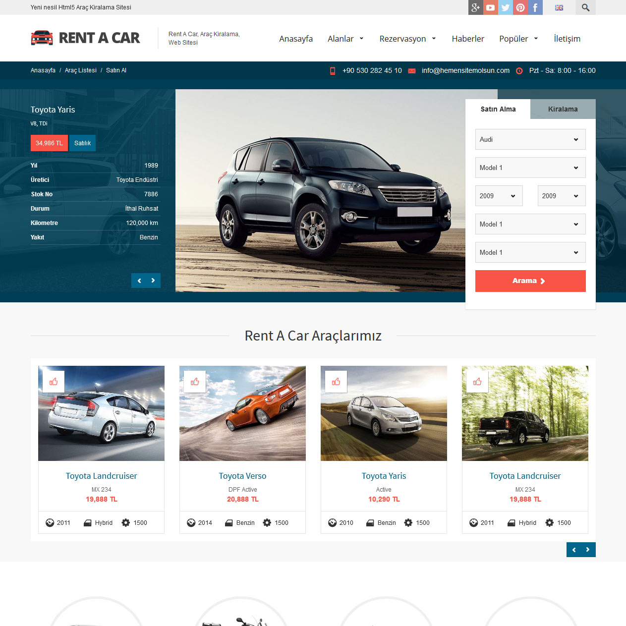 Rental Site: Rent A Car Web Sitesi